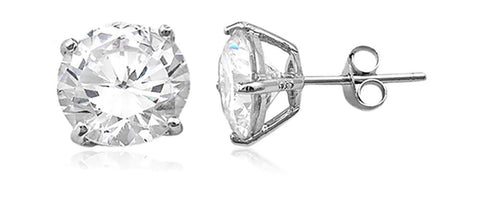 Real 925 Sterling Silver Clear Cz Stone Round Stud Earrings (rhodium-plated-silver, 8 Millimeters)