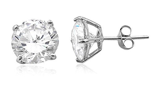 Real 925 Sterling Silver Clear Cz Stone Round Stud Earrings (rhodium-plated-silver, 9 Millimeters)