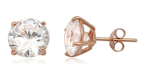 Real 925 Sterling Silver Clear Cz Stone Round Stud Earrings (rose-gold-and-sterling-silver, 9 Millimeters)