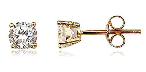 Real 925 Sterling Silver Clear Cz Stone Round Stud Earrings (yellow-gold-plated-silver, 4 Millimeters)