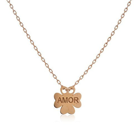 Real 925 Sterling Silver Clover Pendant Engraved With Amor With An 18 Inch Cable Necklace (rose-gold-and-sterling-silver)
