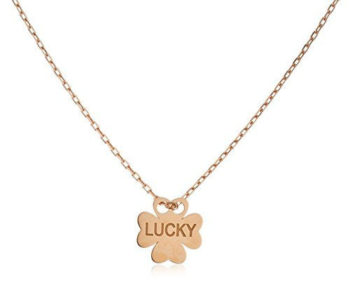 Real 925 Sterling Silver Clover Pendant Engraved With Lucky With An 18 Inch Cable Necklace (rose-gold-and-sterling-silver)