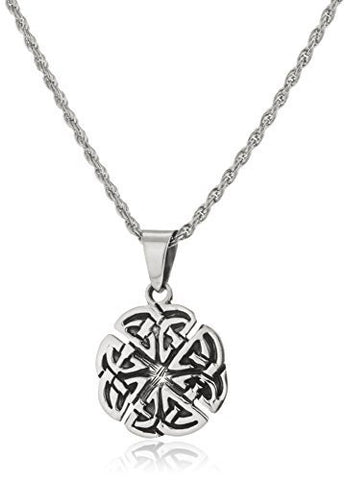 Real 925 Sterling Silver Clover Shape Celtic Knot Pendant With A 24 Inch Rope Necklace