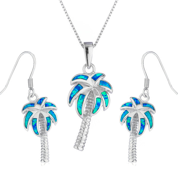 Real 925 Sterling Silver Created Blue Opal Palm Tree Necklace With Matching Earrings Jewelry Set
