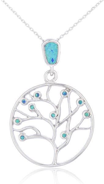 Real 925 Sterling Silver Created Blue Opal Round Tree Of Life Necklace