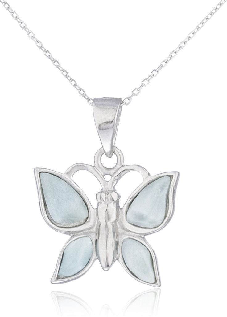Real 925 Sterling Silver Created Larimar...
