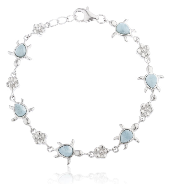 Real 925 Sterling Silver Created Larimar Stone Turtle 8 Inch Charm Bracelet