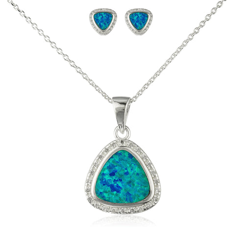 Real 925 Sterling Silver Created Opal 3-sided Pendant Necklace With Matching Stud Earrings Jewelry Set (Turquoise)