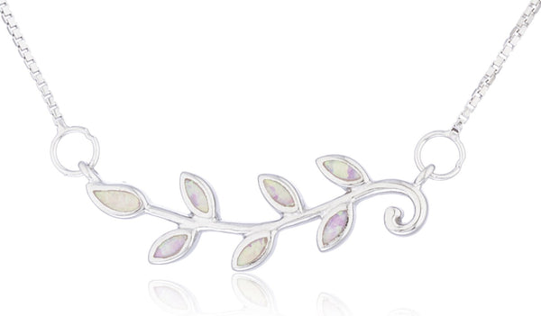 Real 925 Sterling Silver Created Opal Leaf Necklace (Pink)