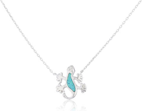 Real 925 Sterling Silver Created Opal Lizard Pendant 18 Inch Necklace (Blue)
