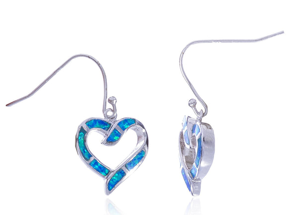 Real 925 Sterling Silver Created Opal Open Heart Dangle Earrings (Blue)