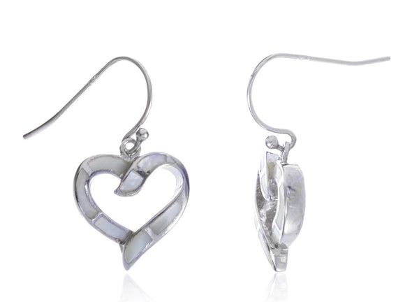 Real 925 Sterling Silver Created Opal Open Heart Dangle Earrings (White)
