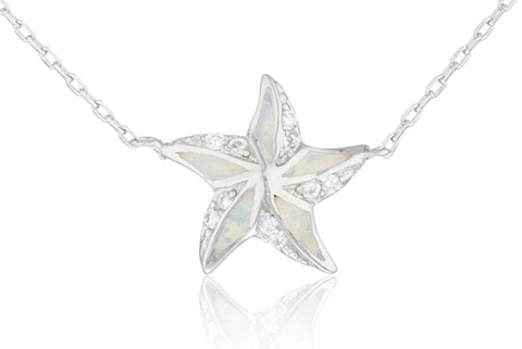Real 925 Sterling Silver Created Opal Star Design Necklace (White)