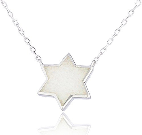 Real 925 Sterling Silver Created Opal Star Of David Necklace (White)