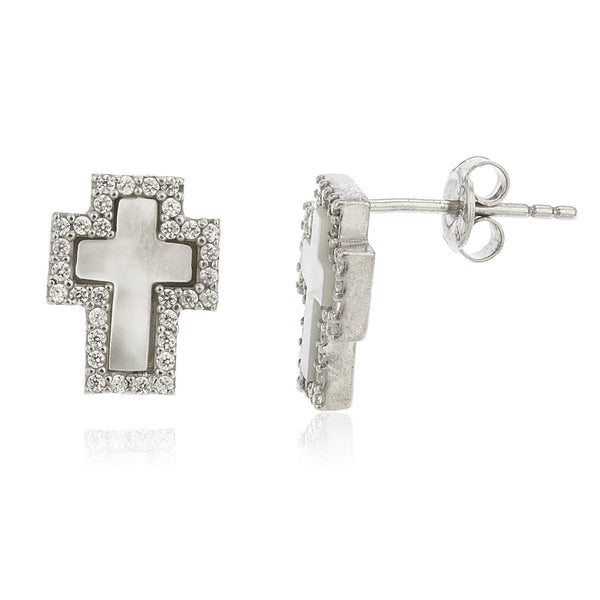 Real 925 Sterling Silver Created Opal White Cross Stud Earrings With Cz Stones