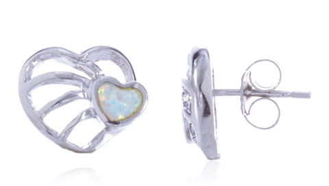 Real 925 Sterling Silver Created White Opal Mini Double Heart Stud Earrings
