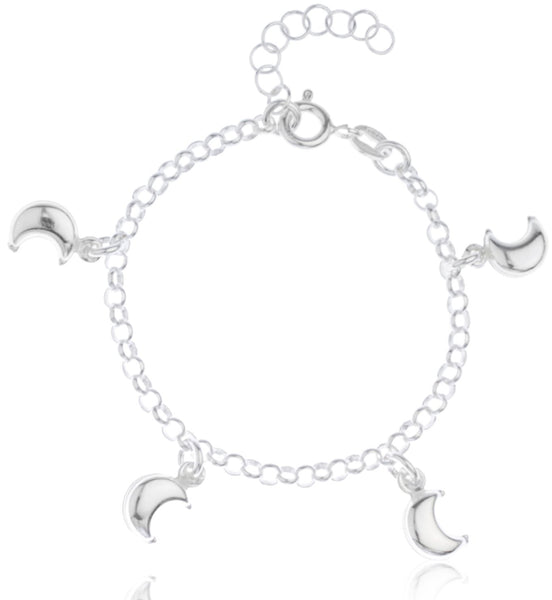 Real 925 Sterling Silver Crescent Moon Charms Adjustable 6 Inch Baby Bracelet