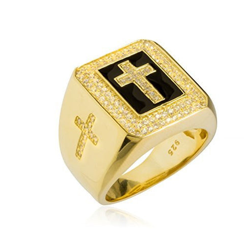 Real 925 Sterling Silver Cross With Cz Stones Ring
