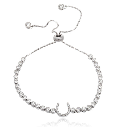 Real 925 Sterling Silver Cubic Zirconia Horseshoe Adjustable Bracelet