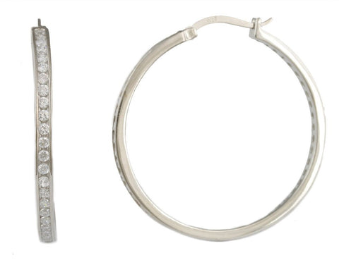 Real 925 Sterling Silver Cubic Zirconia Iced Out 1.55 Inch Hoop Earrings