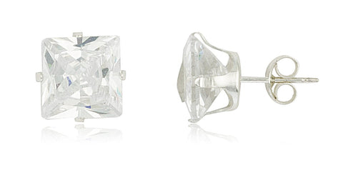 Real 925 Sterling Silver Cubic Zirconium Square Four Prong Stud Earrings (10 Millimeters)