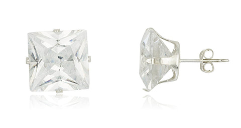 Real 925 Sterling Silver Cubic Zirconium Square Four Prong Stud Earrings (11 Millimeters)