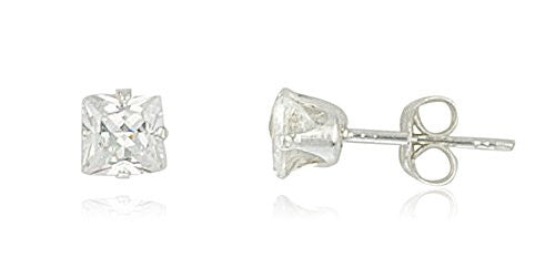 Real 925 Sterling Silver Cubic Zirconium Square Four Prong Stud Earrings (4 Millimeters)