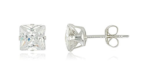 Real 925 Sterling Silver Cubic Zirconium Square Four Prong Stud Earrings (5 Millimeters)