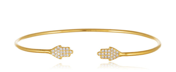 Real 925 Sterling Silver Cuff Bracelet With Hamsa Ends And Cubic Zirconia (Gold-plated)