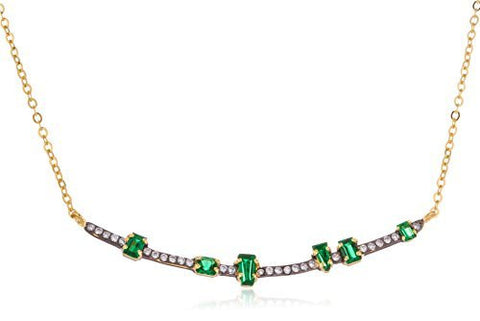 Real 925 Sterling Silver Curved Bar Pendant With Green Stones And An Adjustable 18.5 Inch Link Chain