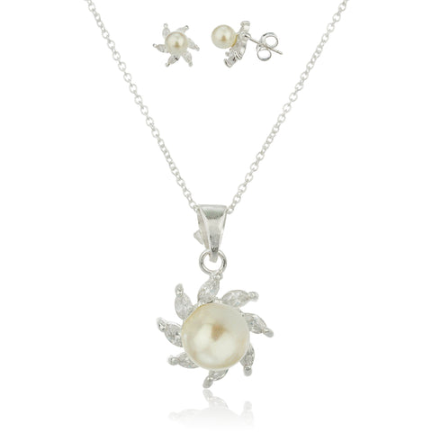 Real 925 Sterling Silver Cz And Simulated Pearl Starfish Matching Earrings And 18 Inch Necklace Set