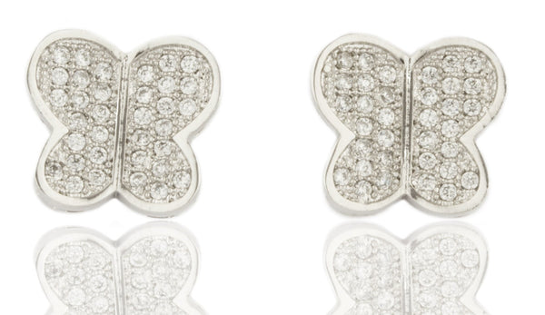 Real 925 Sterling Silver Cz Butterfly Stud Earrings