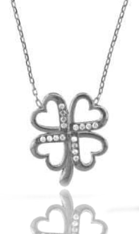 Real 925 Sterling Silver Cz Connected Heart Pendant With A 16-18 Inch Adjustable Link Necklace