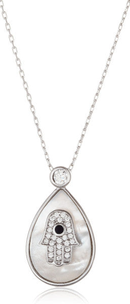 Real 925 Sterling Silver Cz Hamsa In Teardrop Pendant With An Adjustable 18 Inch Necklace