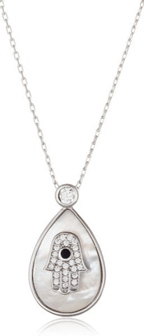 Silver Cz Hamsa In Teardrop Pendant Necklace
