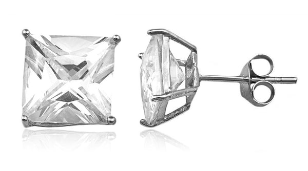Real 925 Sterling Silver Cz Square Basket Setting Stud Earrings (rhodium-plated-silver, 8 Millimeters)