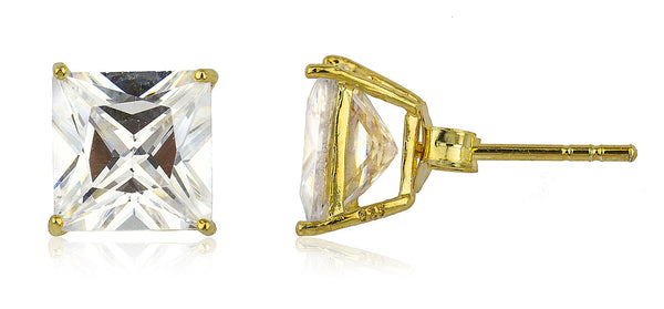 Real 925 Sterling Silver Cz Square Basket Setting Stud Earrings (yellow-gold-plated-silver, 8 Millimeters)