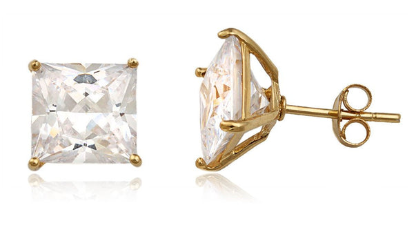 Real 925 Sterling Silver Cz Square Basket Setting Stud Earrings (yellow-gold-plated-silver, 9 Millimeters)