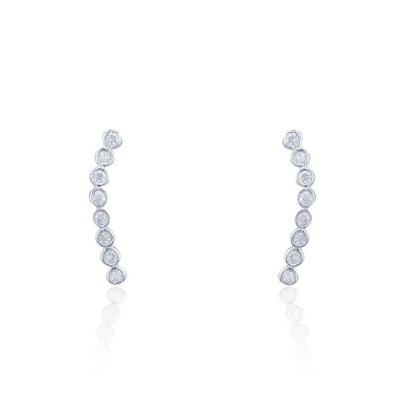 Real 925 Sterling Silver Cz Stone Circle Cluster Stud Earrings
