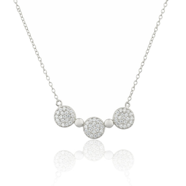 Real 925 Sterling Silver Cz Stone Triple Circle Necklace