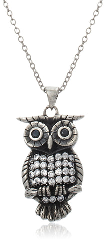 Real 925 Sterling Silver D-Cut Owl Pendant With Cz Stones On An 18 Inch Necklace