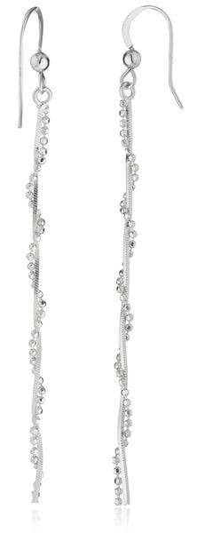 Real 925 Sterling Silver Dangle Box With Beaded Chain Earrings