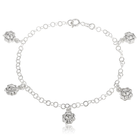 Real 925 Sterling Silver Dangling Flower Charm 7.5 Inch Bracelet