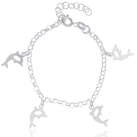 Real 925 Sterling Silver Dolphin Charms Adjustable 6 Inch Baby Bracelet
