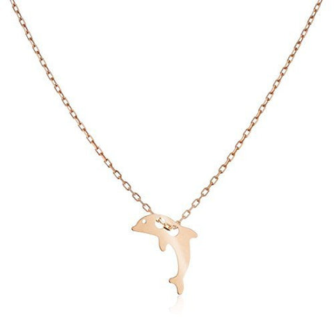 Real 925 Sterling Silver Dolphin Pendant With An 18 Inch Cable Necklace (rose-gold-and-sterling-silver)
