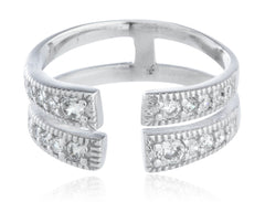 Real 925 Sterling Silver Double Row Wrap Around Adjustable Ring With Cz Stones