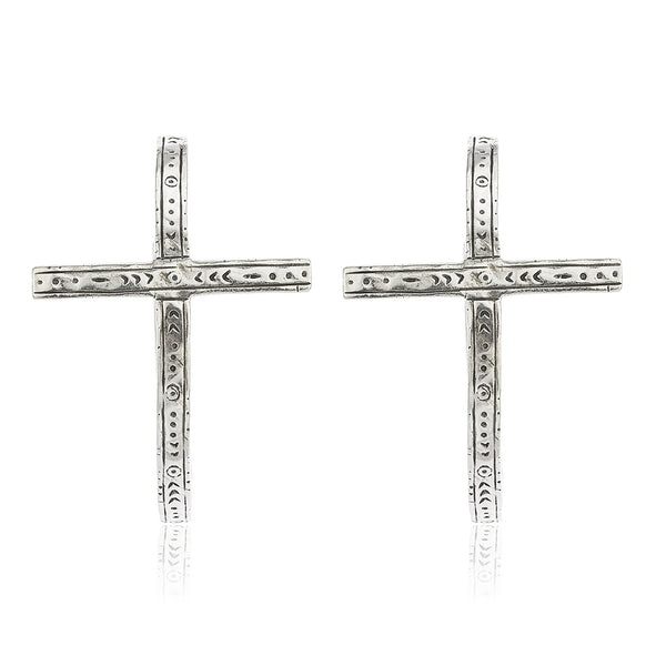 Real 925 Sterling Silver Embedded Thin Cross 1.25 Inch Hoop Earrings
