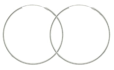 Real 925 Sterling Silver Endless Hoop Earrings (23mm Or 27mm) (23 Millimeters)