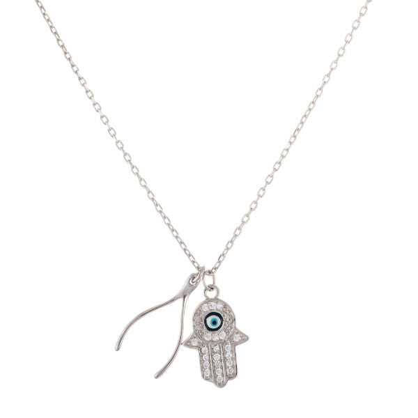 Real 925 Sterling Silver Evil Eye Hamsa And Wishbone 18 Inch Adjustable Necklace