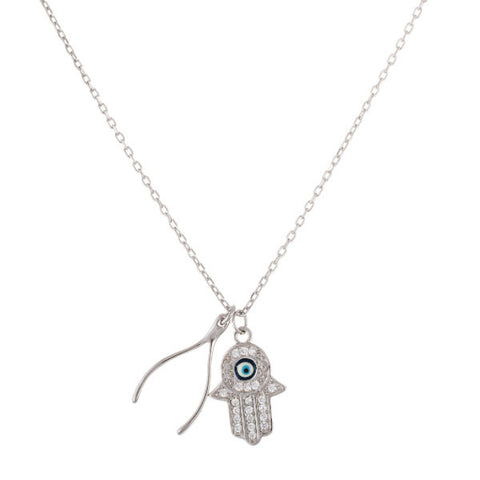 Silver Evil Eye Hamsa and Wishbone Necklace